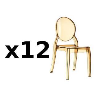 Lot de 12 chaises médaillon IMPÉRATRICE style Louis XVI en polycarbonate coloris champagne