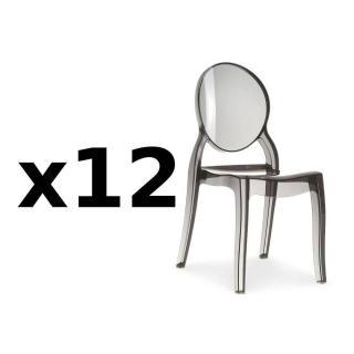 Lot de 12 chaises médaillon IMPÉRATRICE style Louis XVI en polycarbonate coloris fumé