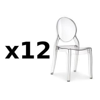 Lot de 12 chaises médaillon IMPÉRATRICE style Louis XVI en polycarbonate transparent