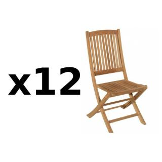 Lot de 12 chaises de jardin LOMBOCK en teck