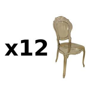 Lot de 12 chaises design NAPOLEON en polycarbonate transparent champagne