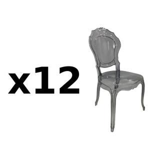 Lot de 12 chaises design NAPOLEON en polycarbonate transparent gris