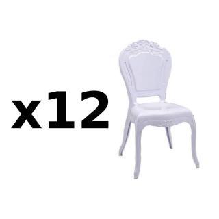 Lot de 12 chaises design NAPOLEON en polycarbonate opaque blanc
