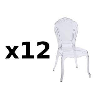 Lot de 12 chaises design NAPOLEON en polycarbonate transparent