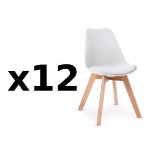 Lot de 12 chaises OSLO design scandinave piétement en hêtre