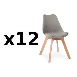 Lot de 12 chaises OSLO grise design scandinave piétement en hêtre