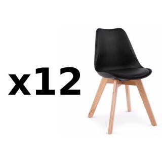 Lot de 12 chaises OSLO noire design scandinave piétement en hêtre