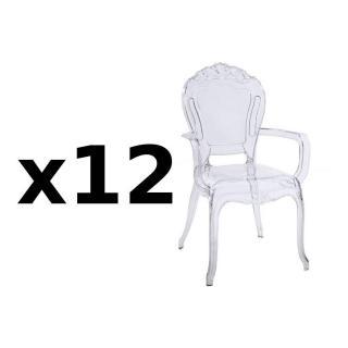 Lot de 12 fauteuils design NAPOLEON en polycarbonate transparent