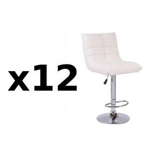 Lot de 12 chaises de Bar COOL en tissu enduit polyuréthane simili façon cuir blanc