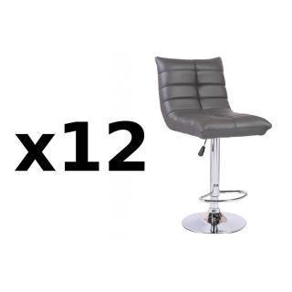 Lot de 12 chaises de Bar COOL en tissu enduit polyuréthane simili façon cuir gris