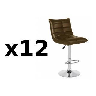 Lot de 12 chaises de Bar COOL en tissu enduit polyuréthane simili façon cuir chocolat