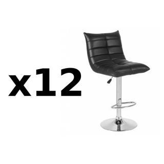 Lot de 12 chaises de Bar COOL en tissu enduit polyuréthane simili façon cuir noir
