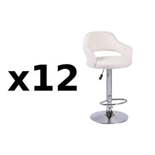 Lot de 12 chaises de Bar FRESH  en tissu enduit polyuréthane simili façon cuir blanc