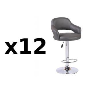 Lot de 12 chaises de Bar FRESH en tissu enduit polyuréthane simili façon cuir gris
