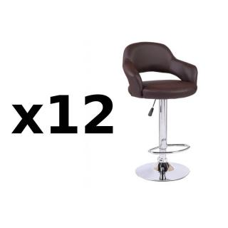 Lot de 12 chaises de Bar FRESH en tissu enduit polyuréthane simili façon cuir marron