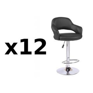 Lot de 12 chaises de Bar FRESH en tissu enduit polyuréthane simili façon cuir noir