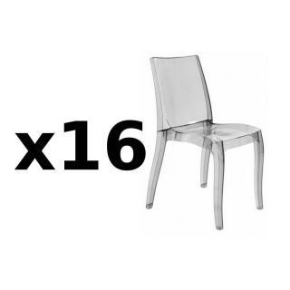 Lot de 16 chaises CRISTAL LIGHT design fumée