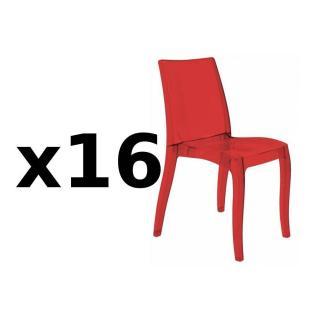 Lot de 16 chaises CRISTAL LIGHT design rouge