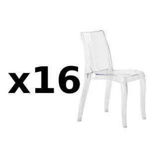 Lot de 16 chaises CRISTAL LIGHT design