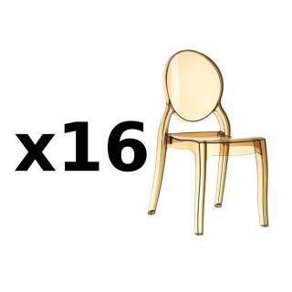 Lot de 16 chaises médaillon IMPÉRATRICE style Louis XVI en polycarbonate coloris champagne