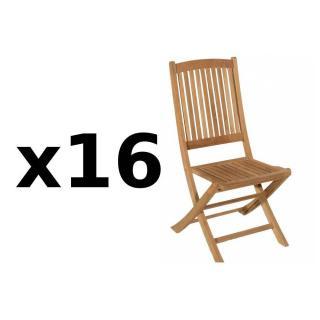 Lot de 16 chaises de jardin LOMBOCK en teck