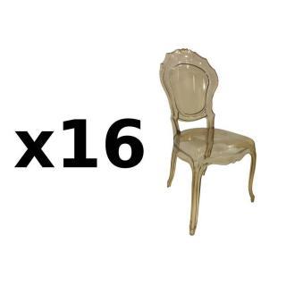 Lot de 16 chaises design NAPOLEON en polycarbonate transparent champagne