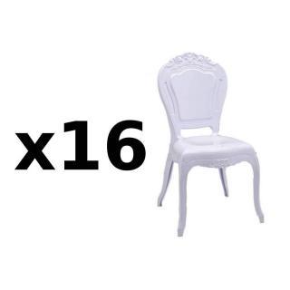 Lot de 16 chaises design NAPOLEON en polycarbonate opaque blanc
