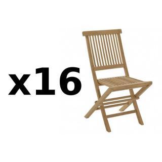 Lot de 16 chaises de jardin JAVA en teck
