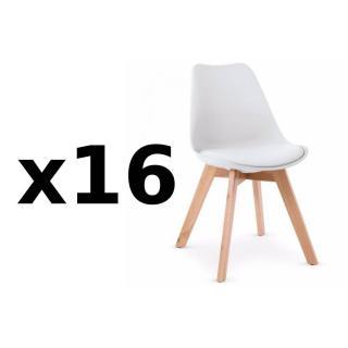 Lot de 16 chaises OSLO design scandinave piétement en hêtre