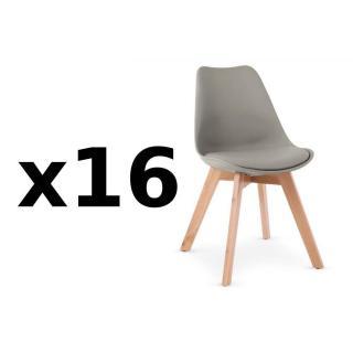 Lot de 16 chaises OSLO grise design scandinave piétement en hêtre
