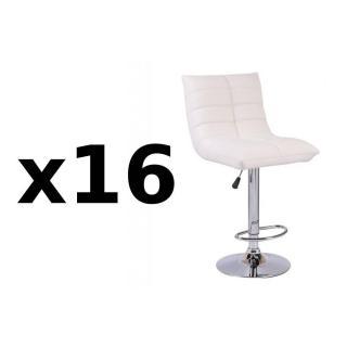 Lot de 16 chaises de Bar COOL en tissu enduit polyuréthane simili façon cuir blanc
