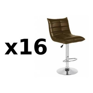 Lot de 16 chaises de Bar COOL en tissu enduit polyuréthane simili façon cuir chocolat