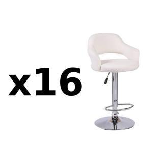 Lot de 16 chaises de Bar FRESH  en tissu enduit polyuréthane simili façon cuir blanc
