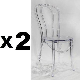 Lot de 2 chaises bistrot PARIS en polycarbonate transparent