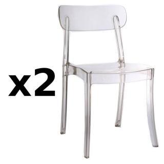 Lot de 2 chaises design bistrot SIXTEES en polycarbonate transparent
