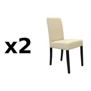 Lot de 2 chaises design BORG revêtement polyuréthane ivoire piétement noir