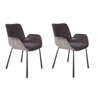 ZUIVER lot de 2 chaises BRIT velours gris