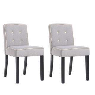 Lot de 2 chaises design contemporain CHARLEMAGNE tissu lin gris clair