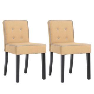 Lot de 2 chaises design contemporain CHARLEMAGNE tissu lin jaune