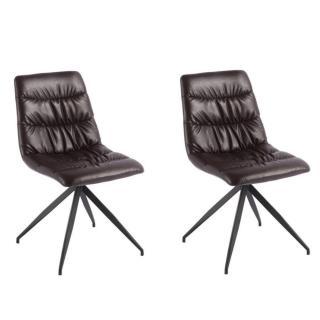 Lot de 2 chaises design AALBORG revêtement polyuréthane marron
