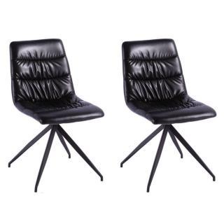 Lot de 2 chaises design AALBORG revêtement polyuréthane noir