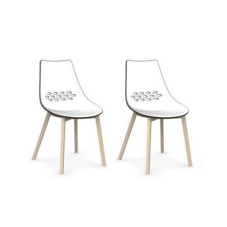 Lot de 2 chaises JAM W  piétement en hêtre blanchi