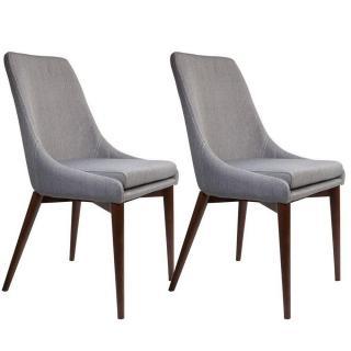 DUTCHBONE lot de 2 chaises JUJU  tissu gris coutures sellier