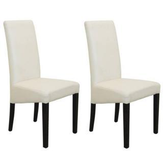 Lot de 2 chaises design MALMÔ  revêtement polyuréthane blanc piétement noir