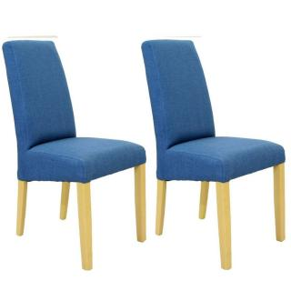 Lot de 2 chaises design MALMÔ tissu bleu piétement naturel