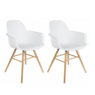 Lot de 2 chaises avec accoudoirs design scandinave ALBERT KUIP blanche