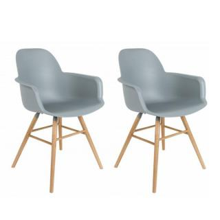 Lot de 2 chaises avec accoudoirs design scandinave ALBERT KUIP gris clair