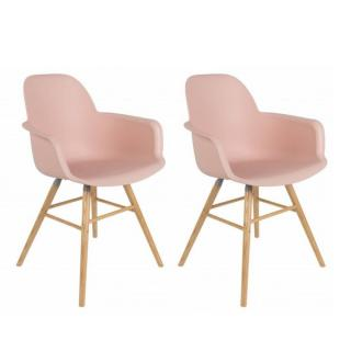 Lot de 2 chaises avec accoudoirs design scandinave ALBERT KUIP old rose