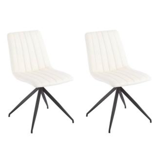 Lot de 2 chaises design ELSBJERG revêtement polyuréthane blanc brillant