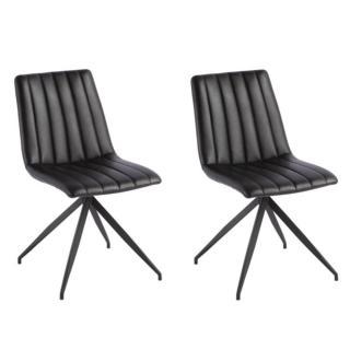 Lot de 2 chaises design ELSBJERG revêtement polyuréthane noir brillant